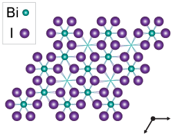 Crystal diagram of bismuth triiodide, with bismuth as smaller blue circles and iodine as larger purple circles. Each bismuth atom is surrounded by five iodine atoms.