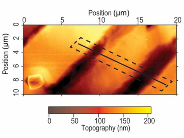 AFM tomography image of domain formation on poling in MAPbI3 crystal.