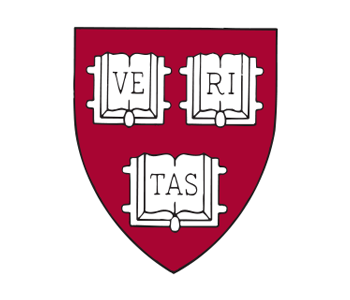 Logo for Harvard showing a symbol and Harvard University